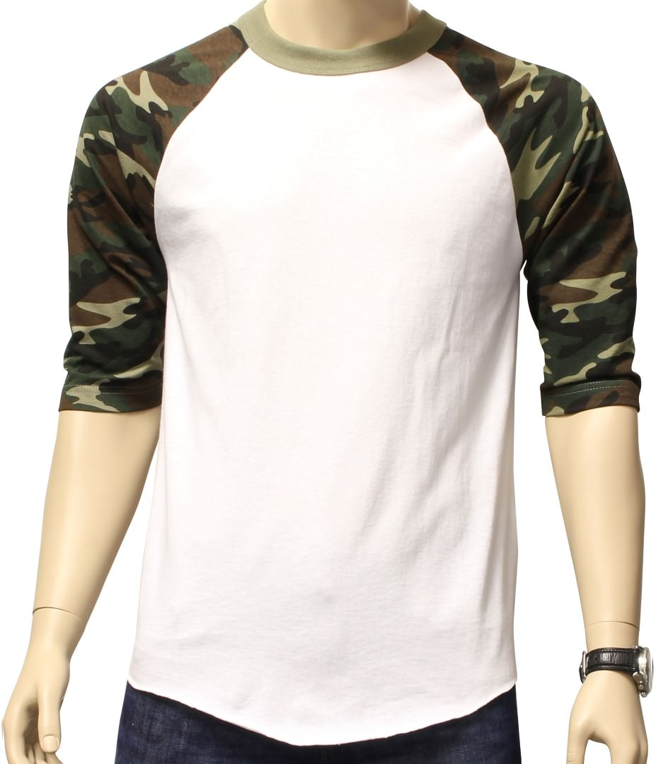New-3-4-Sleeve-Camo-Raglan-Baseball-Mens-Army-Camouflage-Sports-T-Shirt-S-3XL